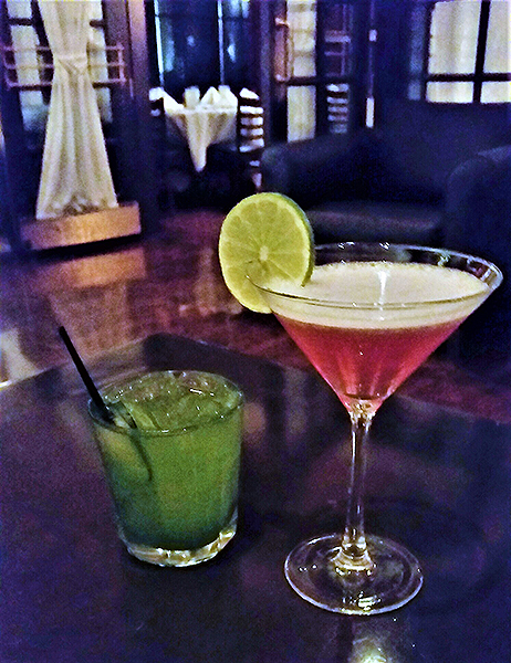 Cucumber basil Gimlet and Tropical Cosmo