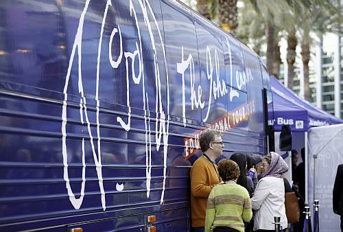 The John Lennon Foundation bus and booth
