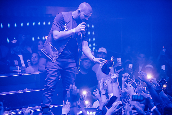 Drake sharing Virginia Black with the crowd at the Billboard Music Awards After Party at Hakkasan photo credit Rukes