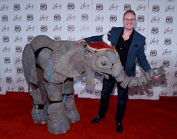 CIRCUS 1903 Director Neil Dorward with Peanut the Elephant at Opening Night of CIRCUS 1903 at Paris Las Vegas 7.25.17 Ethan Miller
