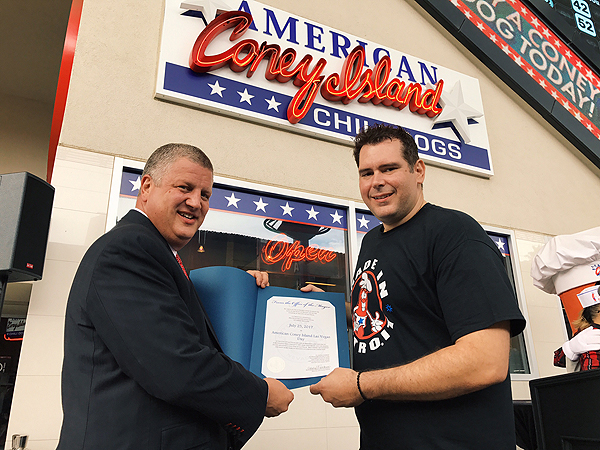 Derek Stevens and ACI Co Owner Chris Sotiropoulos Celebrate American Coney Island Las Vegas Day