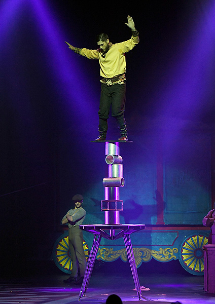 Rola Bola Act The Sensational Sozonov Performs in CIRCUS 1903 at Paris Las Vegas Ethan Miller