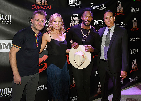 Chris Hardwick Colman Domingo Kim Dickens Michael Greyeyes Celebrate Grand Opening of Fear the Walking Dead Survival at FSE credit Las Vegas News Bureau