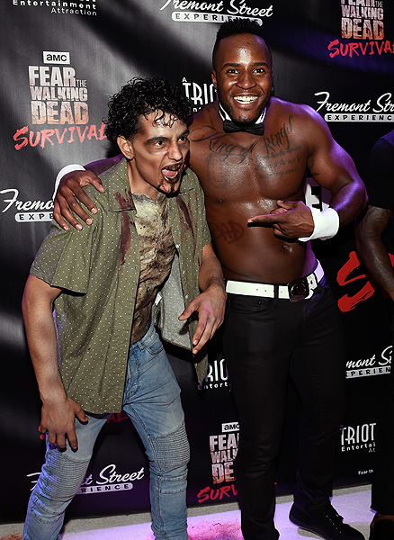 Okewa Garrett from Chippendales at Fear the Walking Dead Survival Grand Opening at FSE in Las Vegas credit Las Vegas News Bureau