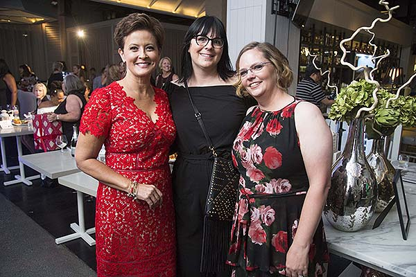 Host Denise Valdez Founder Jenna Doughton and beauty transformation recipient Karen Belote Stevens poses for pictures - Photo credit: Lucinda Flint Photography