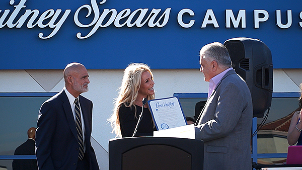 On Saturday, Nov. 4, Britney Spears joined president and CEO of the Nevada Childhood Cancer Foundation, Jeff Gordon, in celebration of the grand opening of the organization's new Britney Spears Campus. Clark County Commissioner Steve Sisolak also joined in on the festivities, declaring it Nevada Childhood Cancer Foundation and Britney Spears Day. - Photo credit: Sonia Miller