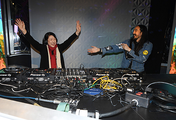 Chizuru Aoki and Steve Aoki at Madame Tussauds Las Vegas DJ Experience Launch 11
