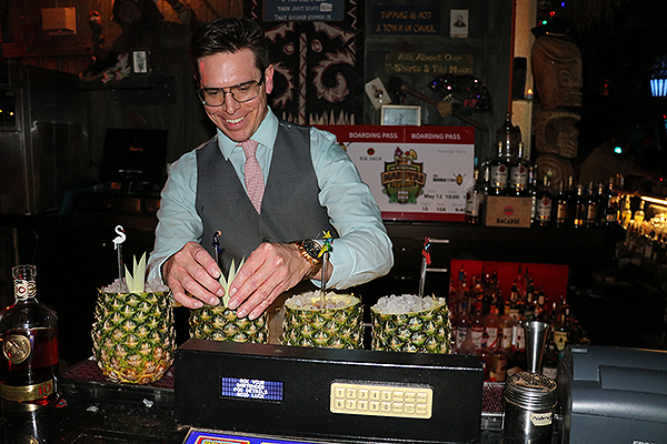 Andrew Pollard creating his winning mai tai