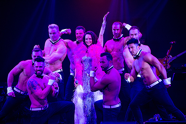 Cast members of Chippendales join Niki Scalera on stage for Ribbon of Life Credit Tom Donoghue