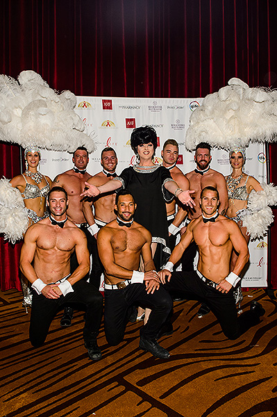 Edie poses with Chippendale cast members Credit Brenton Ho
