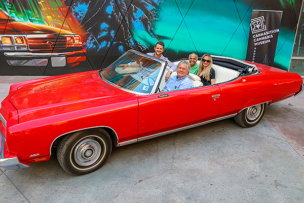 anita thompson jj walker tick segerblom and rohit joshi neonopolis owner photo of the red shark hunter s thompsons 1973 chevrolet caprice outside of cannabition immersive cannabis museum in 43215954704 o