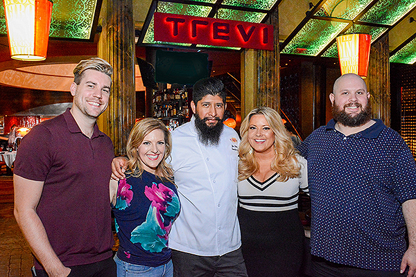 Shaun Burgess Courtney Perna Chef Jose Navarro Rachel Smith and Jason Harris at TREVI Charity Pizza Cook Off