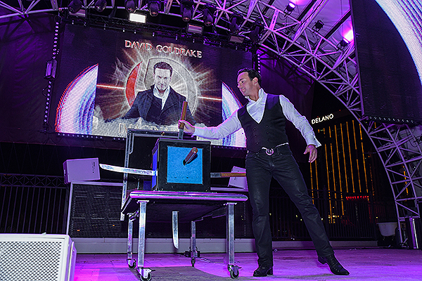 David Goldrake dazzles the crowd with magic. Credit Amit Dadlaney