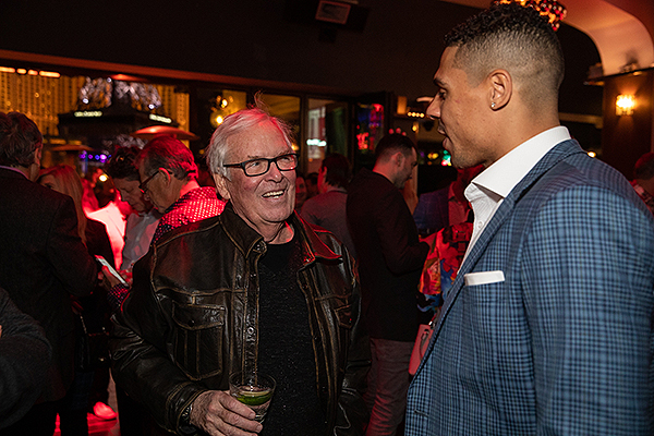 Bill Foley and Ryan Reaves celebrate the launch of 7Five Brewing Co. at Hyde Bellagio in Las Vegas 2.23.19