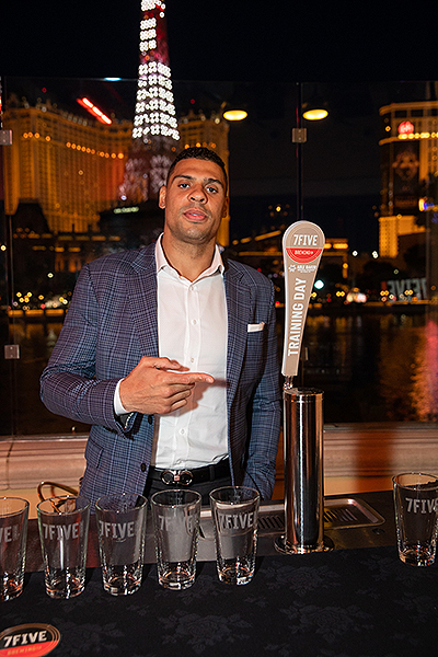 Ryan Reaves introduces Training Day golden ale the launch of 7Five Brewing Co. at Hyde Bellagio in Las Vegas 2.23.19