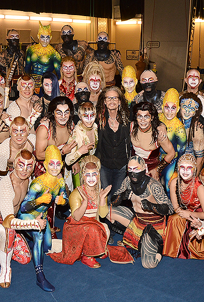 Steven Tyler with the cast of KA by Cirque du Soleil April 9