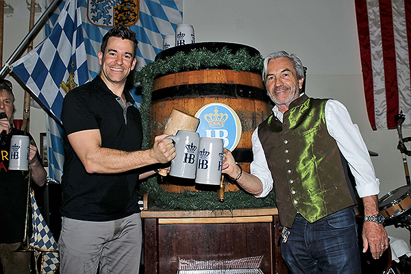 Jeff Civillico and Tony Sinzger tap the first Maibock keg of the season April 26 at Hofbrauhaus Las Vegas