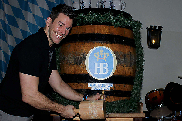 Jeff Civillico taps the first Maibock keg of the season April 26 at Hofbrauhaus Las Vegas