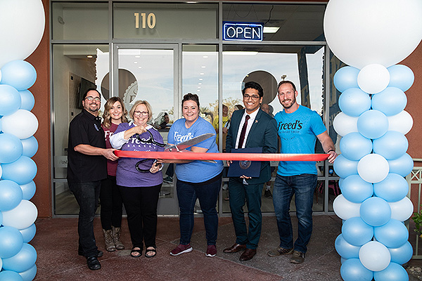 Freeds Dessert Shop Ribbon Cutting L R Anthony Fusco Sarah Fried Fusco Joan Fried Bryan Baltazar Max Jacobson Fried and Jordyn Hudson
