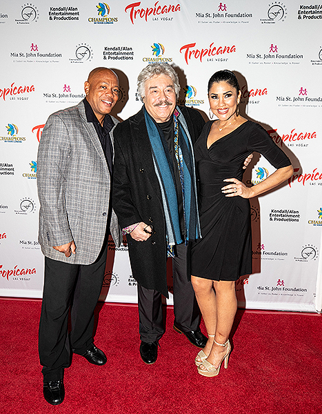Mia St. John Tony Orlando and Maurice Greene at Trago Lounge inside Tropicana Las Vegas Photo Credit Key Lime Photography