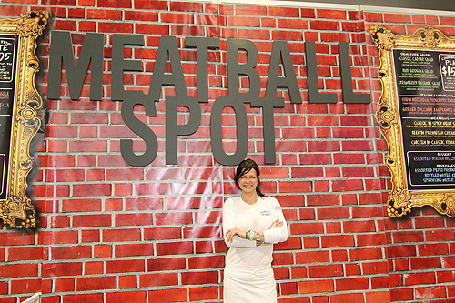 Carla Pellegrino In Front of Pop-Up Meatball Spot Sign