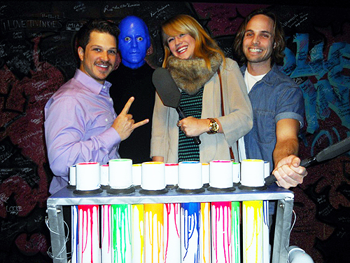 2.11.13 Rock Of Ages Las Vegas lead cast members Mark Shunock Carrie St. Louis and Justin Mortelliti attend Blue Man Group at Monte Carlo Resort and Casino