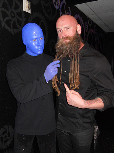 2.12.14 Chris Kael of Five Finger Death Punch Visits Blue Man Group at Monte Carlo Resort and Casino