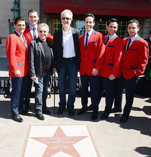 Jersey Boys cast with Frankie Valli Bob Gaudio - Credit Denise Truscello