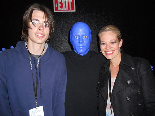 3.27.13 Jeri Ryan and her son Alex at Blue Man Group in Monte Carlo Resort and Casino