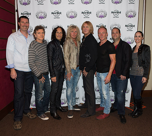 L-R Paul Davis Rick Allen Vivian Campbell Rick Savage Joe Elliott Phil Collen Bobby Reynolds Suzanne Richardson