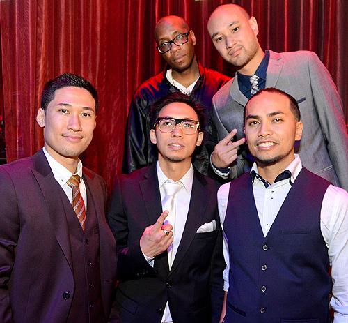 Jabbawockeez  L-R first row Tony Tran Ben Chung Chris Gatdula Back row L-R Kevin Brewer Jeff Nguyen LAX Nightclub