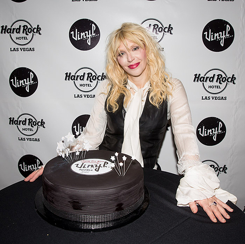8.22.13 Courtney Love poses with Vinyls One Year Anniversary Cake at Vinyl in Hard Rock Hotel and Casino photo credit Erik Kabik and Scott Harrison