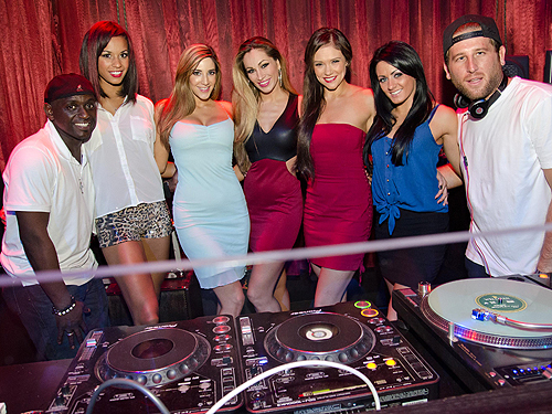 L-R - Sean E.  Cooper cast of FANTASY Jaime Lynch center DJ Wellman DJ booth LAX Nightclub