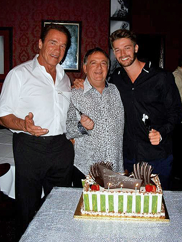 Arnold Schwarzenegger Robert Earl and Patrick Schwarzenegger at Strip House