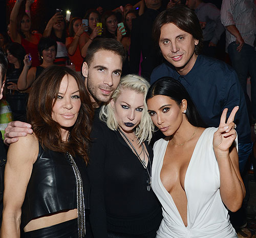 Robin Antin Simon Huck Joyce Bonelli Kim Kardashian West and Jonathan Cheban at TAO