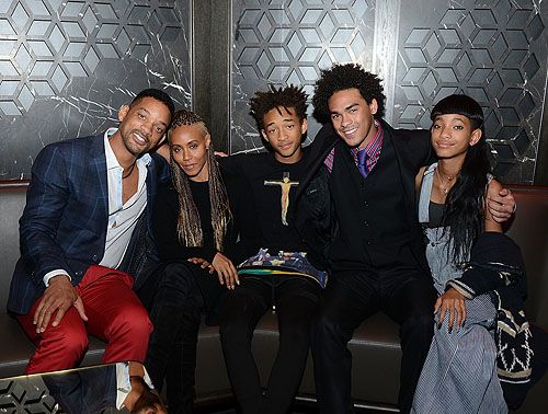 Will Smith Jada Pinkett Smith Jaden Smith Trey Smith and Willow Smith celebrate Trey Smiths 21st birthday at Hakkasan Las Vegas