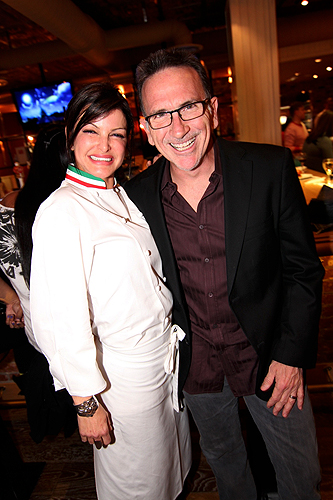 Carla Pellegrino and Rick Moonen Pose at Meatball Spot Grand Opening