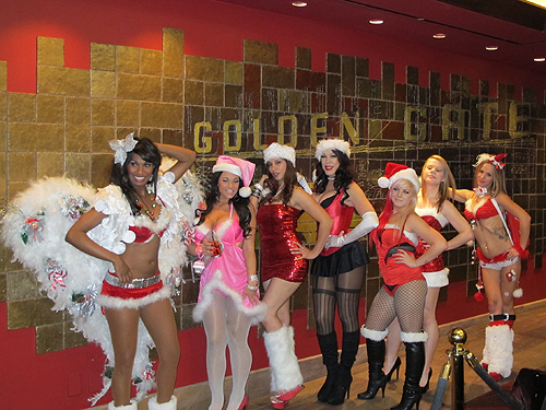 Female Contestants at Golden Gate Hotel and Casino Miss Santas Helper Las Vegas