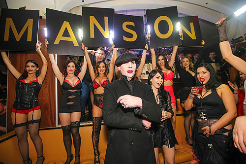Marilyn Manson is greeted at Hyde Bellagio