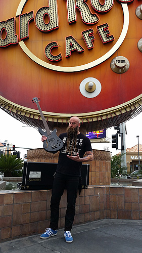 Chris Kael of Five Finger Death Punch stops by Hard Rock Cafe in Las Vegas to support Music in our Schools Month
