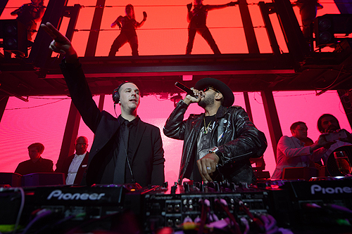 Eric DLux and Swizz Beatz attend DUSSE Presents Fight Weekend At Marquee Las Vegas Hosted By JAY-Z photo credit Al Powers