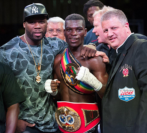 50 Cent Richard Commey and Derek Stevens at Knockout Night at the D Photography by Tom Donoghue