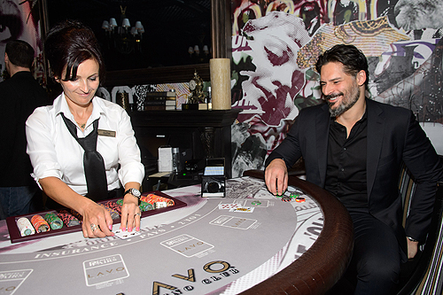 Joe Manganiello playing blackjack at LAVO Casino Club grand opening