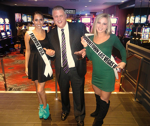 Derek Stevens with Miss Fremont and Miss Downtown Las Vegas