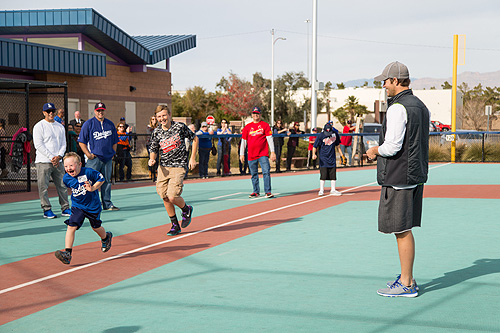 Clayton Kershaw Cheers on a player at The Miracle League of Las Vegas