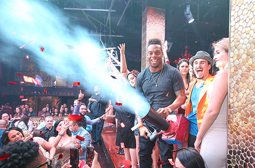 Brandon Marshall at Broncos Championship Celebration at TAO