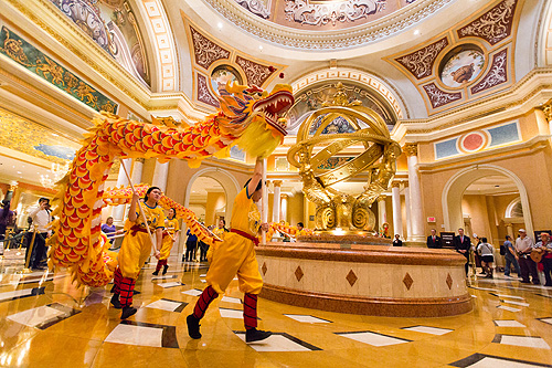 The Dragon circles the Armillary Sphere in The Venetian Lobby