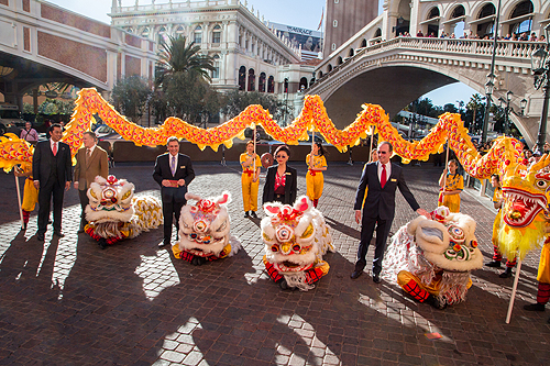 Venetian and Palazzo Executives Participate in the Lion Dance