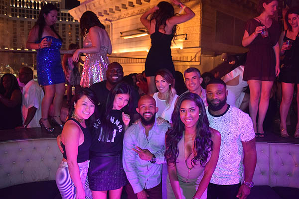 Demetrious Johnson Shaunie ONeal Tyron Woodley and friends at Chateau Nightclub and Rooftop