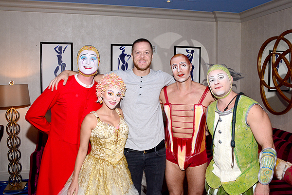 Imagine Dragons Day Reynolds with cast members from O by Cirque du Soleil Aug 12 2016